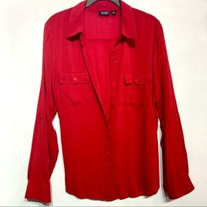 A.N.A. Red Button Down Collared Long Sleeve Blouse
